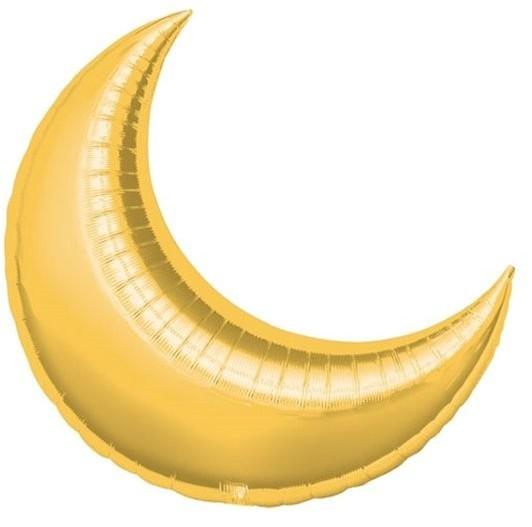 Goldene Mond Sichel Folienballon 66cm
