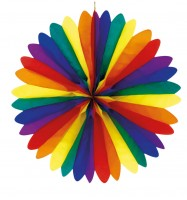 Bunter Rainbow Party Fächer 50cm