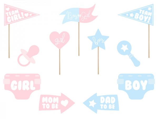 11 Boy or Girl photo props pink-blue