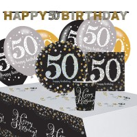 Golden 50th Birthday Deko Set 41-teilig