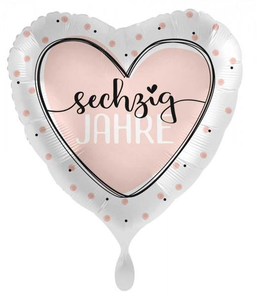 60. Geburtstag Ballon Shiny Heart 45cm