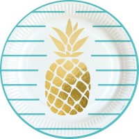 8 Pappteller Ananas Garten