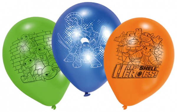 6 ballons Tortues Ninja Half Shell Heroes