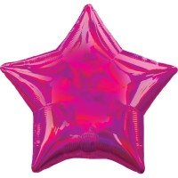 Holografischer Sternballon magenta 45cm