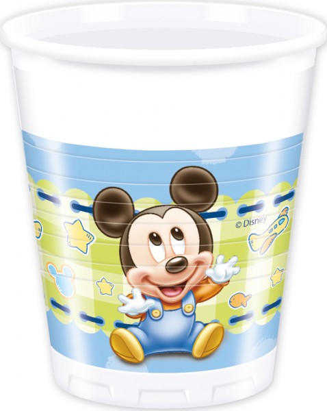 8 Mickey Mouse baby shower cups 200ml