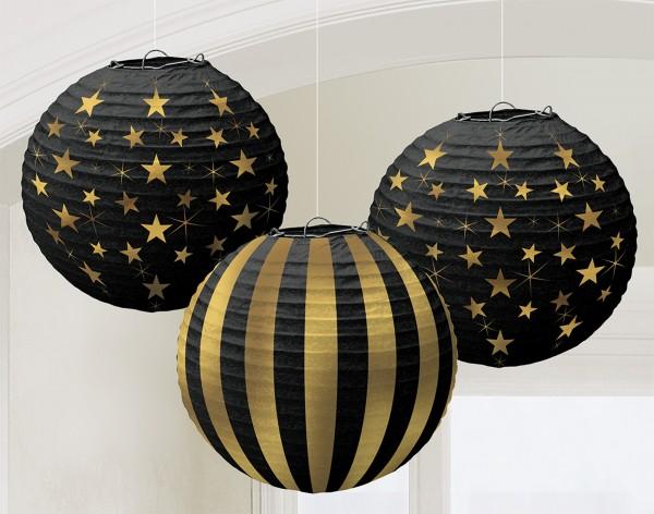 3 Famous Star Chinese lanterns 24cm