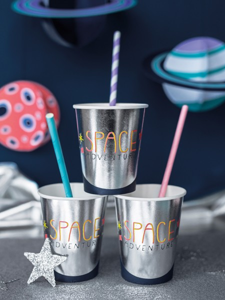 6 space party paper cups 200ml