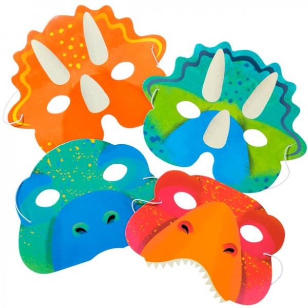 8 masques en carton de troupeau de Dino