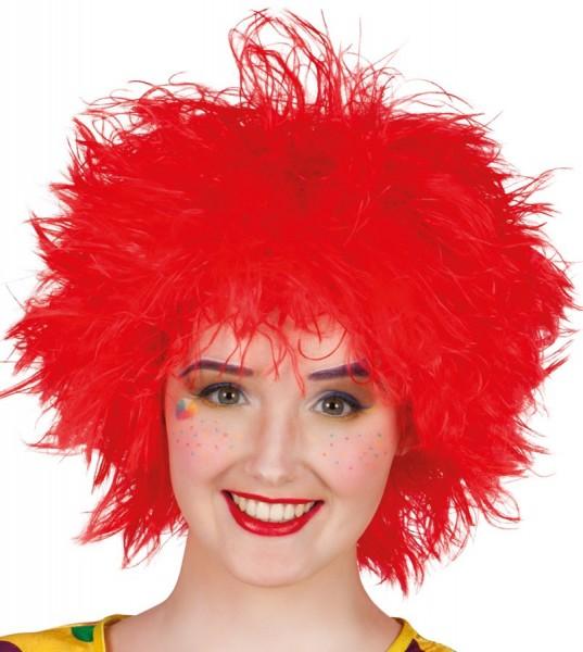 Jasnoczerwona peruka z dziką grzywą
