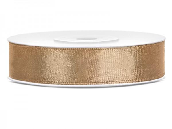 25m Satin Geschenkband hellgold 12mm breit