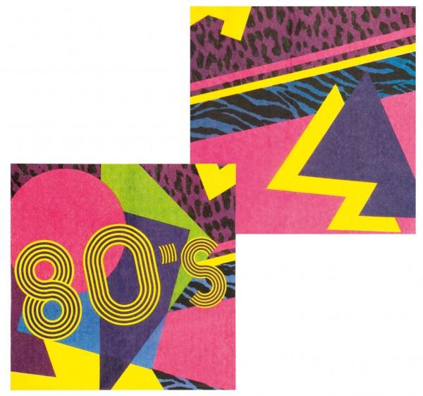 12 bunte 80er Jahre Servietten 33 x 33cm