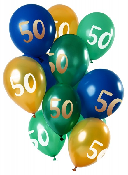 50 cumpleaños 12 globos de látex oro verde
