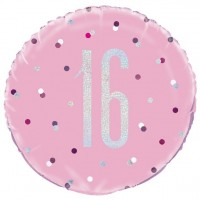 Folienballon 16. Geburtstag pink Dots 46cm