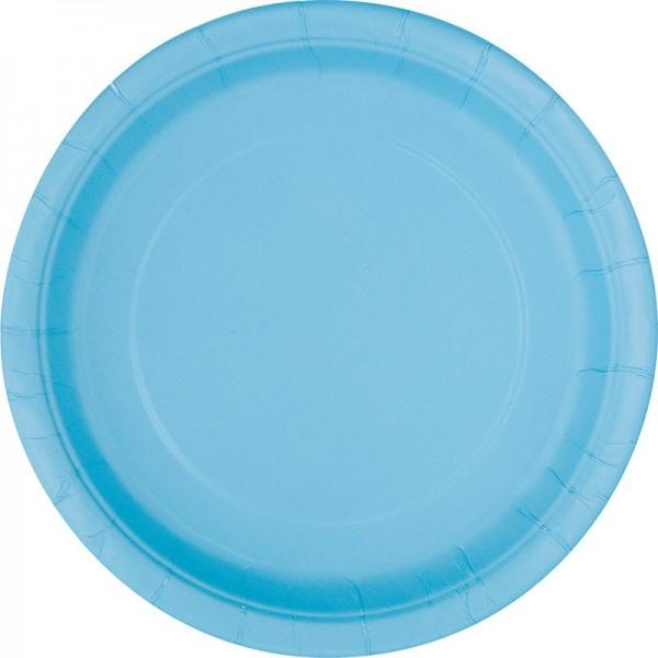 8 piatti di carta per feste Valentina azzurro 23 cm