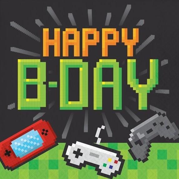 16 niveau op Happy Birthday servietter 33cm