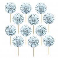 12 Candy Buffet Papier Rosetten Spieße Blau
