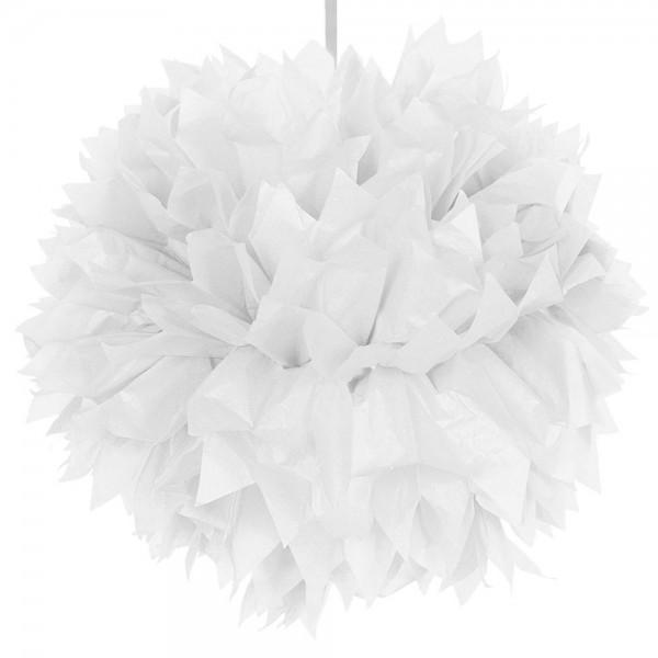 Boule déco blanche pompon 30cm