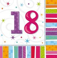 16 Colourful 18th Birthday Servietten 33cm