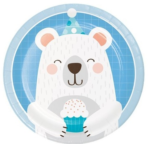 8 birthday bear paper plates 18cm