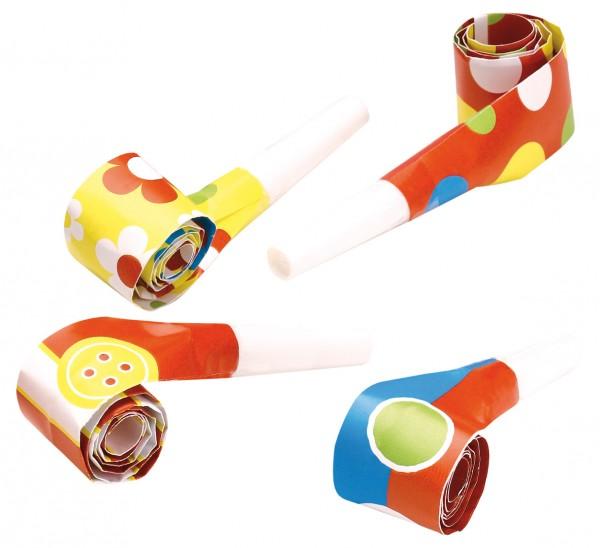 Divertidos cuernos de baúl de aire colorido fiesta 4 piezas