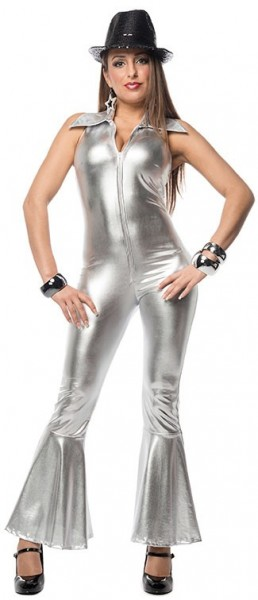 Silver disco bell-bottoms jumpsuit