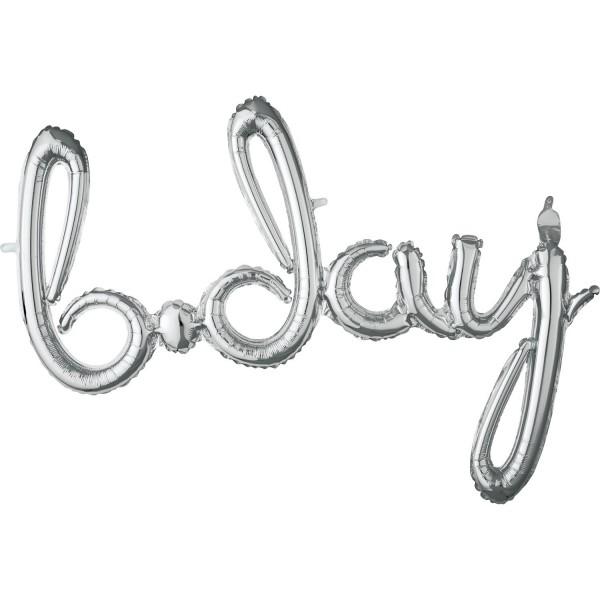 Silberner B-Day Schriftzug 93cm