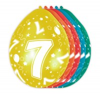 5 Bunte Latexballons 7th Birthday