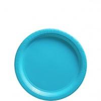 50 einfarbige Pappteller türkis-blau 17cm
