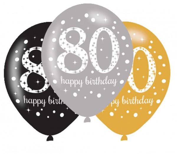 6 Golden 80th Birthday Ballons 27,5cm