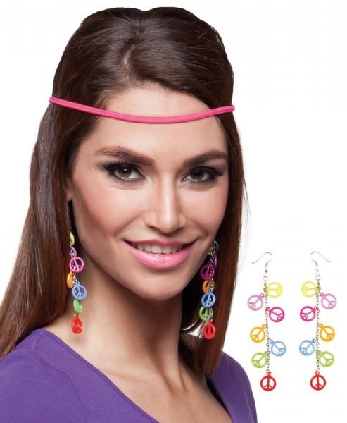 Bunte Hippie-Ohrringe Mit Peacezeichen