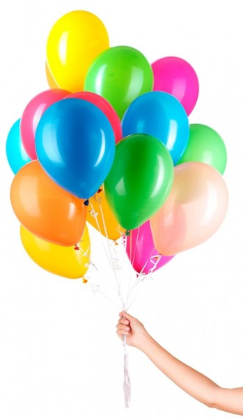 30 Colourful Balloons with Ribbon 23cm