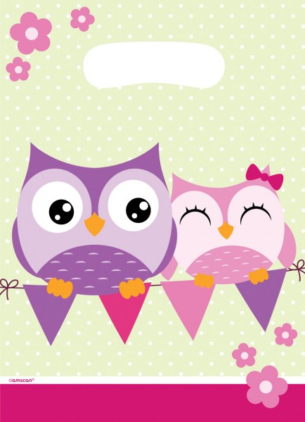 8 sachet cadeau Happy Owl Family 18,2x8,2cm