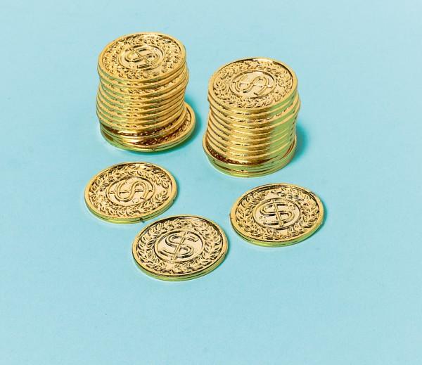 144 monedas de oro con signo de dólar