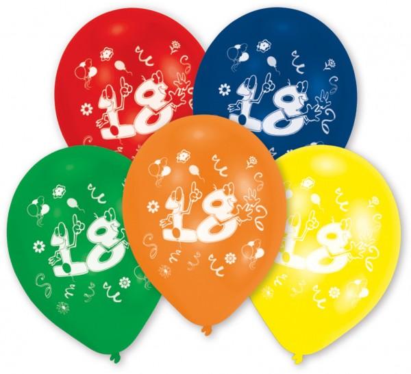 Conjunto de 10 globos coloridos número 18