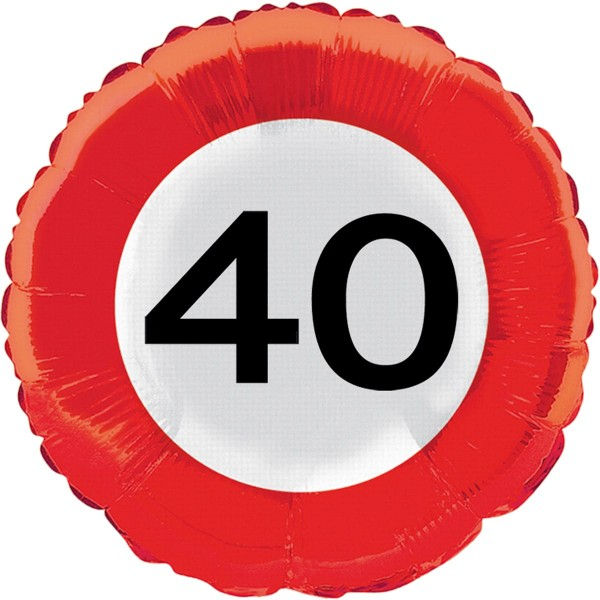 Traffic sign 40 foil balloon 45cm