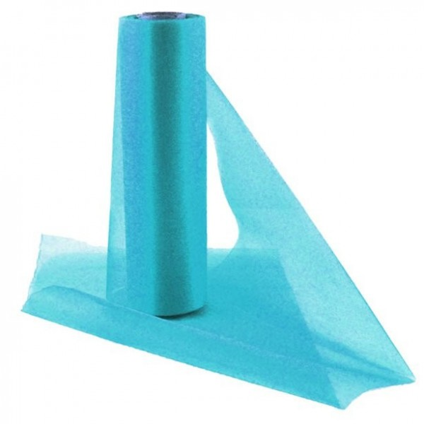 Turquoise organza fabric roll 25m