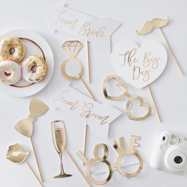 10 Golden Wedding Foto Requisiten