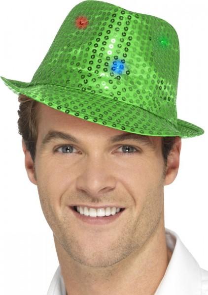 Grüner Paillettenhut mit LED-Leuchten
