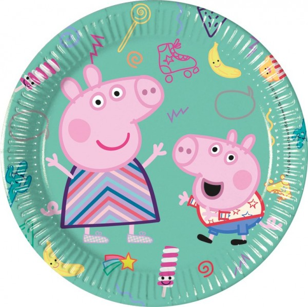 8 Peppa Pig game day paper plates 20cm