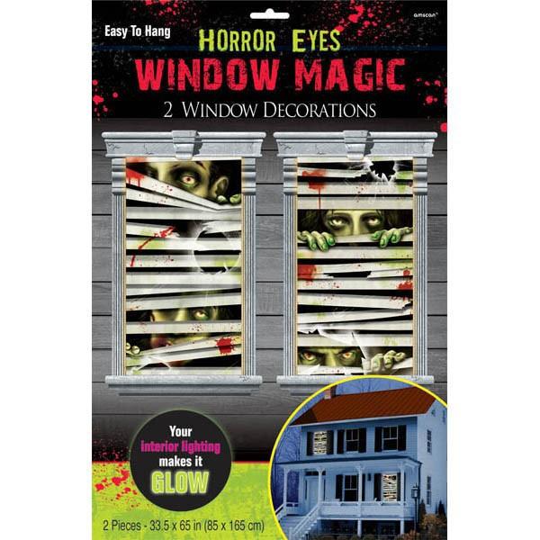 2 Zombie Town Horror Augen Fensterbilder 1,65m x 85cm