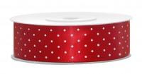 25m Rotes Satin Geschenkband white dots