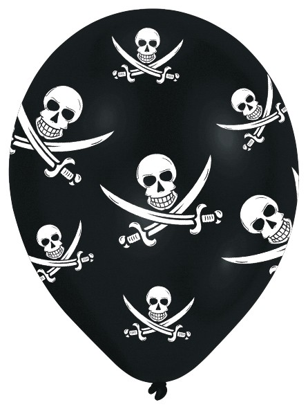 6 ballons pirate horreur des mers 28 cm
