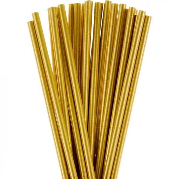 24 golden paper drinking straws