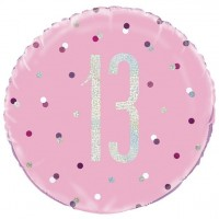 Folienballon 13. Geburtstag pink Dots 46cm