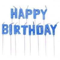 Funkelnde Happy Birthday Tortenkerzen blau
