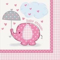 16 Elefanten Baby Party Servietten Rosa 33cm