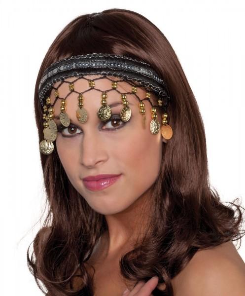 Schwarzes Zarafina Stirnband Mit Münzen