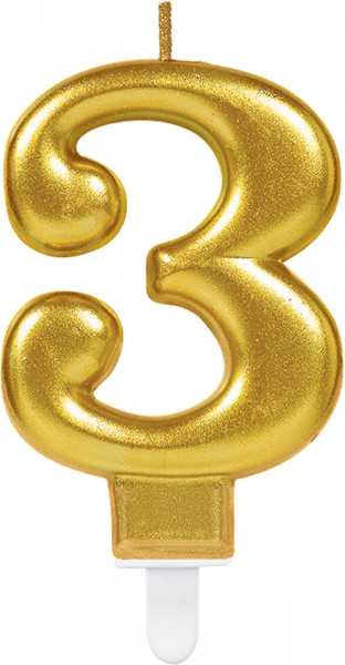 Golden metallic number 3 cake candle 7.5cm