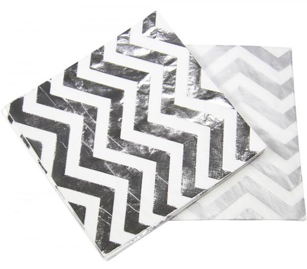 20 serviettes métalliques argentées 33x33cm