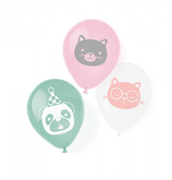 6 balonów lateksowych Happy Animals 23cm